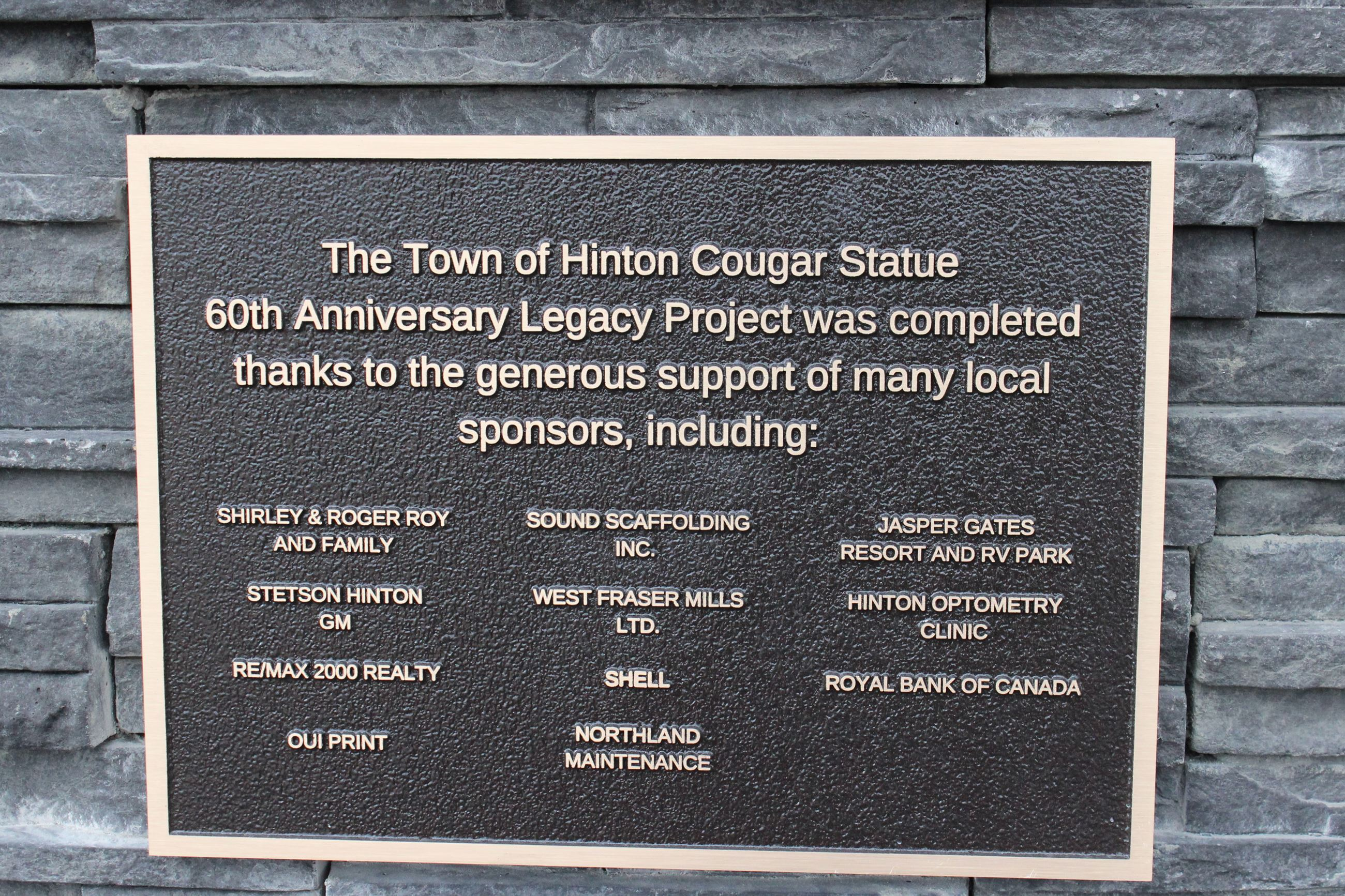 Plaque bearing sponsors
