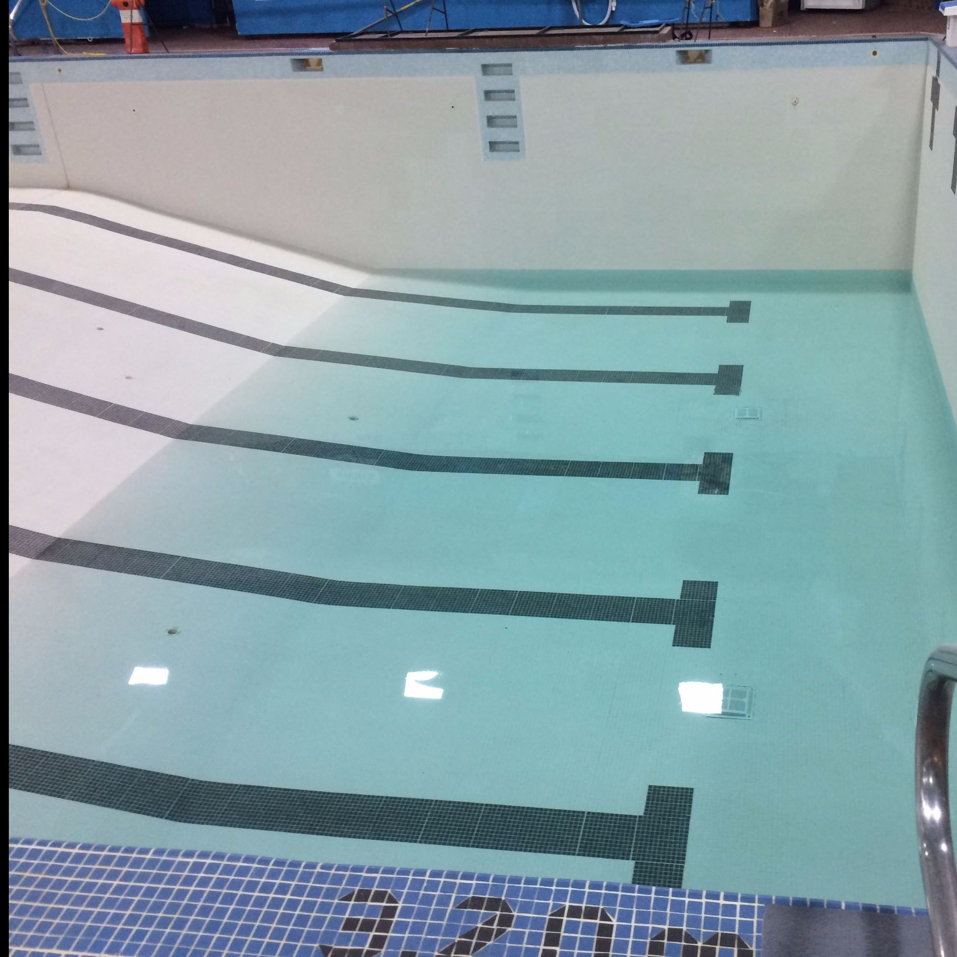 When the pit begins to fill, so does the pool! It may look a little green right now, but when the wa