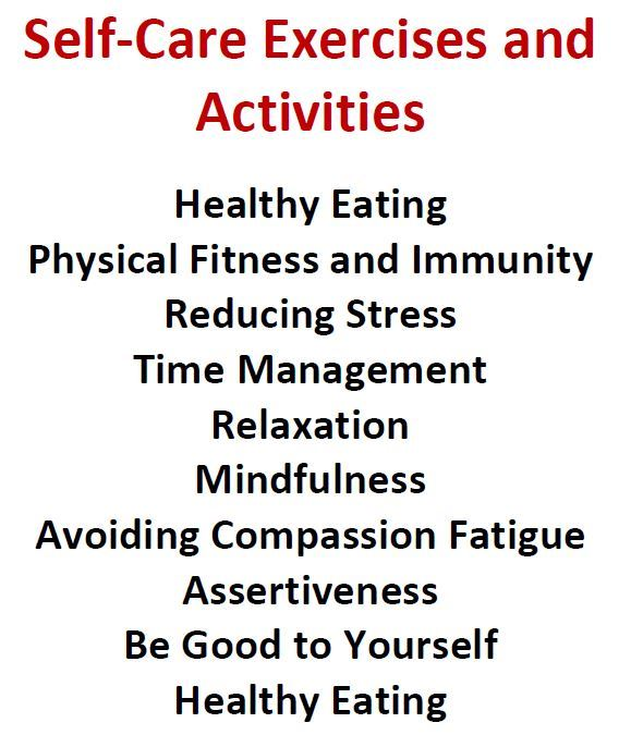 COVID-Self-Care exercises and activities